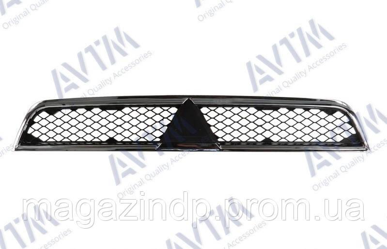 Решетка радиатора Mitsubishi Lancer X 2007-2012 верх.хром.рамка 184811991 7450A093 Код товара: 3800165