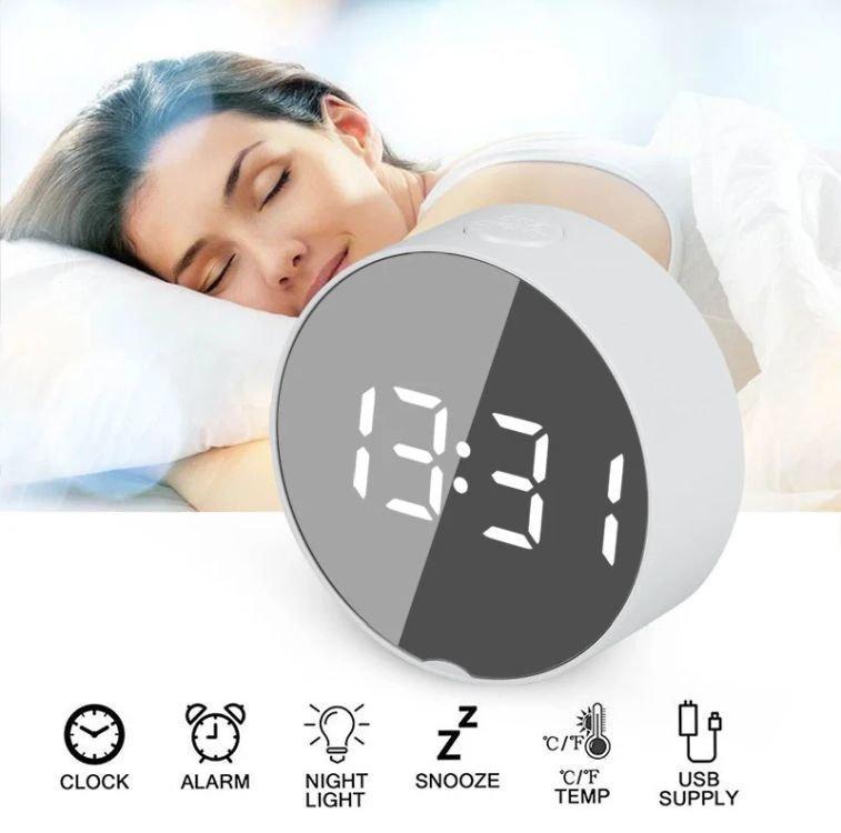 Дзеркальні Led годинник Dt-6505 white з будильником і термометром