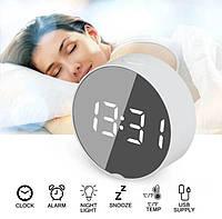 Дзеркальні Led годинник Dt-6505 white з будильником і термометром, фото 1