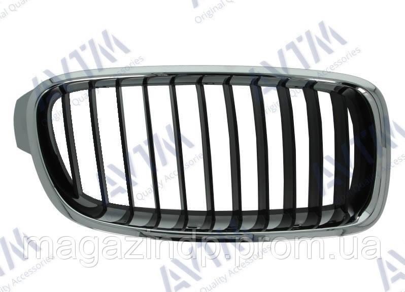 Решетка радиатора BMW 3 (F30/F31) 2012-2015 левая хром, черная 181422991 Код товара: 3815281