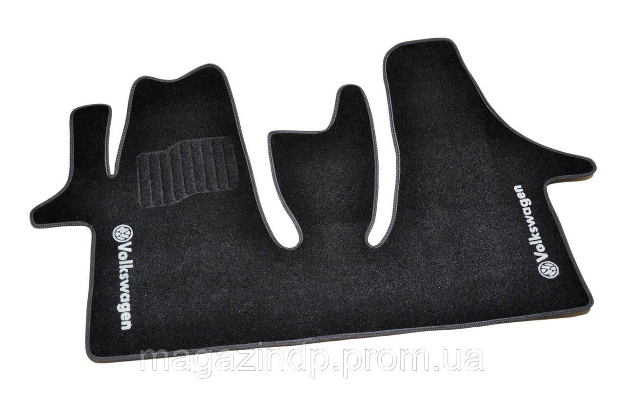 Коврики в салон ворсовые для Volkswagen T5 (2004-) (1+2) / Чёрные BLCCR1692 Код товара: 3822711
