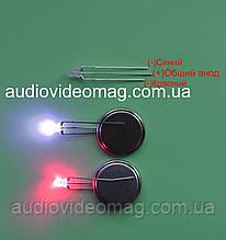 Светодиод 3V 3 мм с общим АНОДОМ, двухцветный, красный и синий