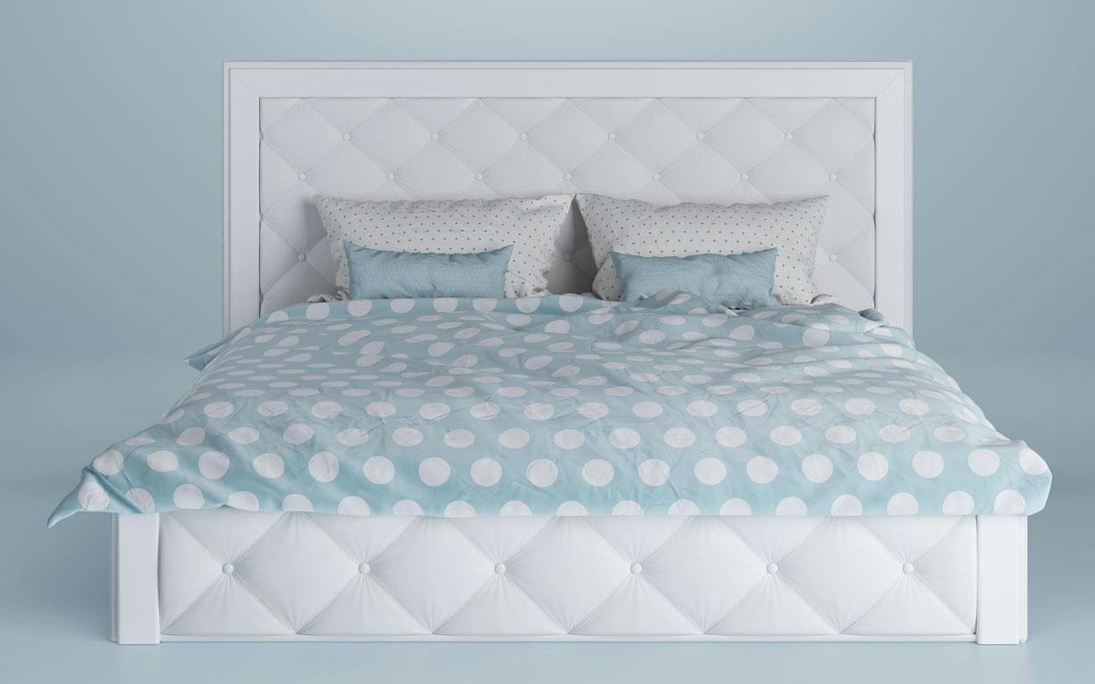 Кровать Юта  с ламельным каркасом (изножье с узором изголовья) LUNA
