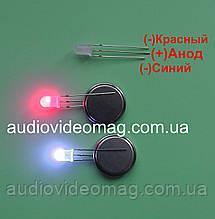 Светодиод 3V 5 мм с общим АНОДОМ, двухцветный, красный и синий