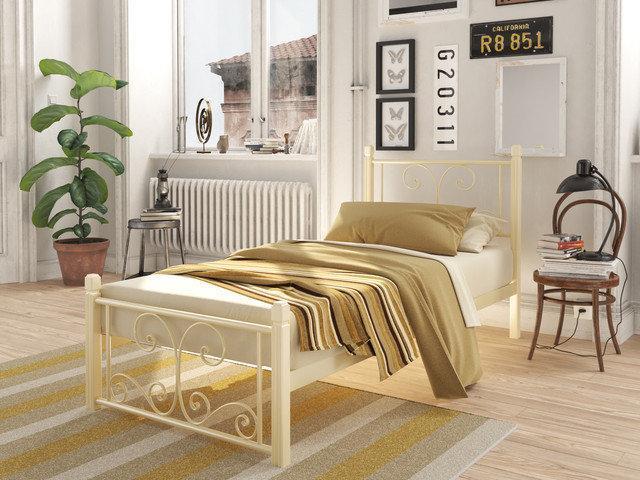 Металлическая кровать Нарцисс (мини) на деревянных ногах ТМ Тенеро