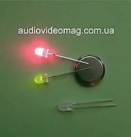 Светодиод 3V 5 мм, двухцветный, цвет красный и зеленый