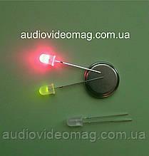 Світлодіод 3V 5 мм, двоколірний, колір червоний і зелений