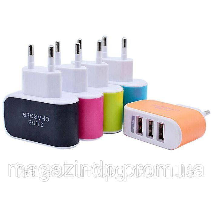 Usb зарядное (адаптер) на три порта, 3,1А Код товара: 1256281