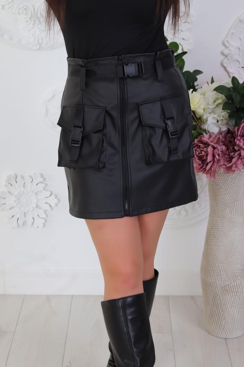 Кожаная юбка Карманы влю524
