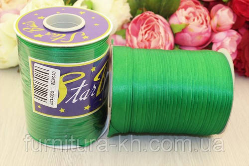 Косая Бейка Атласная 1,5 см в рулоне 90 м цвет зеленый
