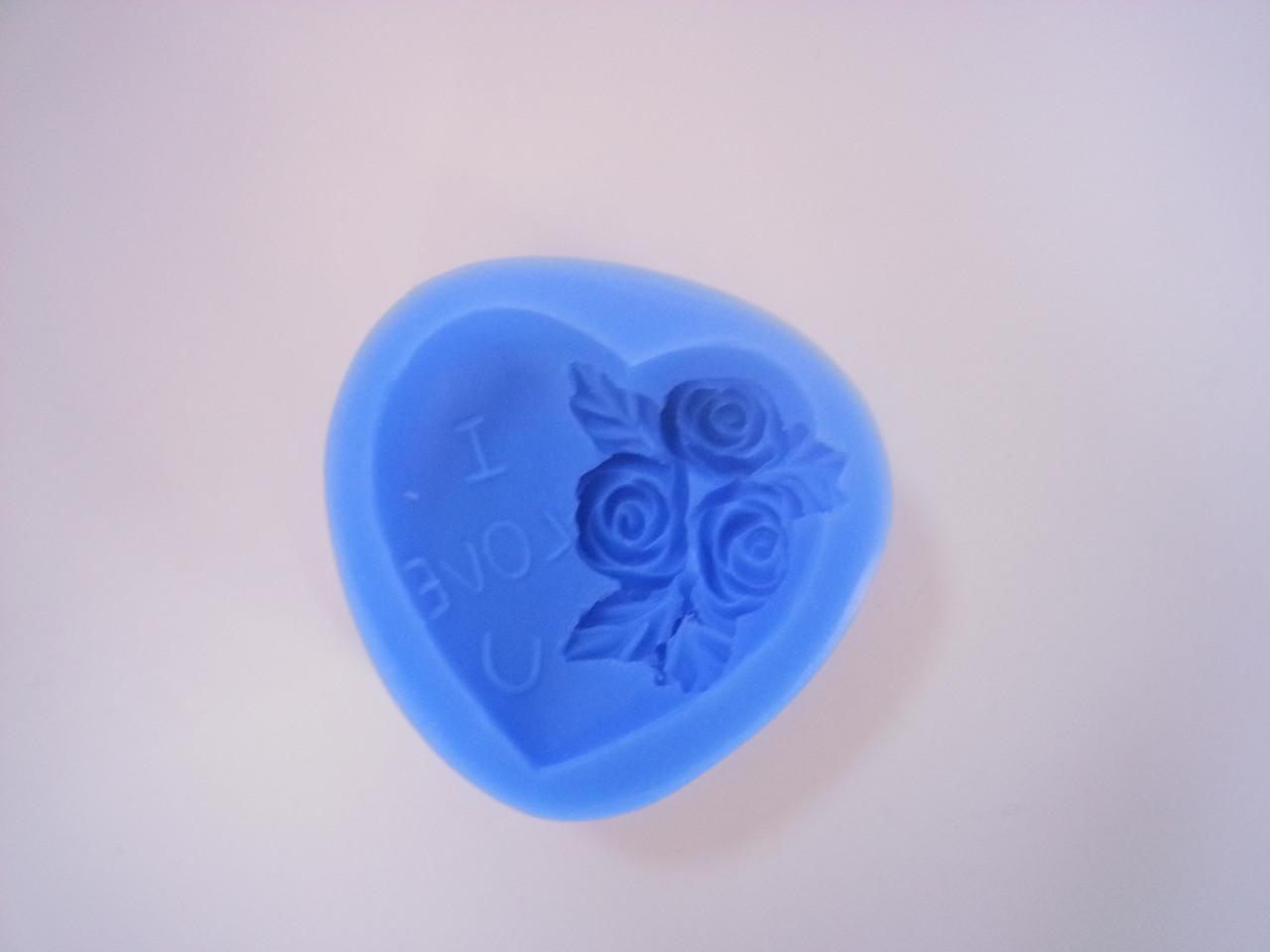 """Силиконовый молд """"Сердце с цветами 2"""" 5,5х5,5см. (код 04240)"""