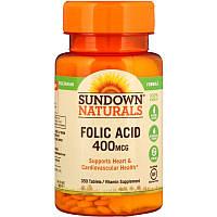 Sundown Naturals, фолиевая кислота, 350 таб. по 400 мкг, folic acid