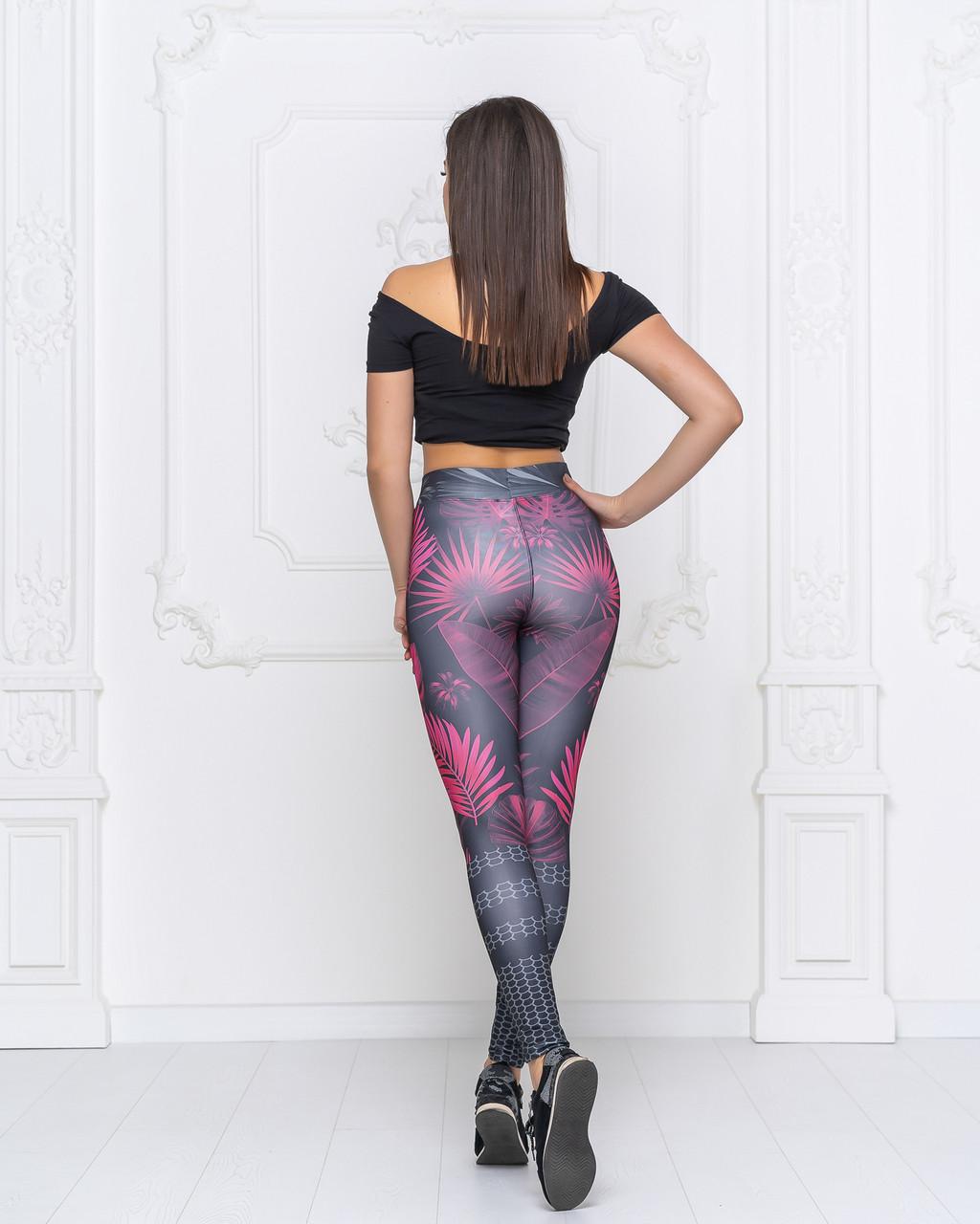 Спортивные женские яркие лосины с оригинальным  ярким принтом для йоги,танцев и фитнеса..