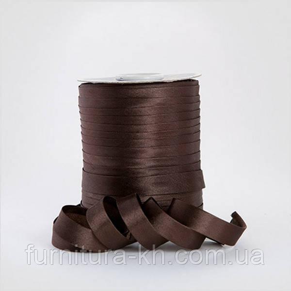 Коса Бейка Атласна 1,5 см в рулоні 90 м колір шоколад