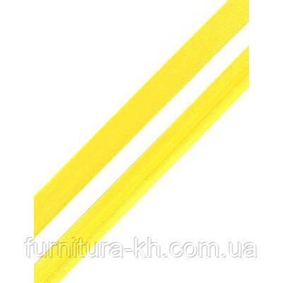 Коса Бейка Атласна 1,5 см в рулоні 90 м колір світло-жовтий