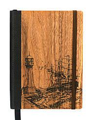 """Эко Ежедневник-мотиватор недатированный А5 """"Маяк"""", деревянный в книжном переплете, 368 стр."""