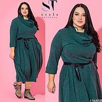 Платье изумрудное теплое трикотажное с хомутом и карманами 52-62