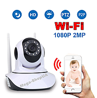 Беспроводная поворотная WiFi Вай Фай IP камера видеонаблюдения для дома, квартиры. Камера відеонагляду PO862W, фото 1