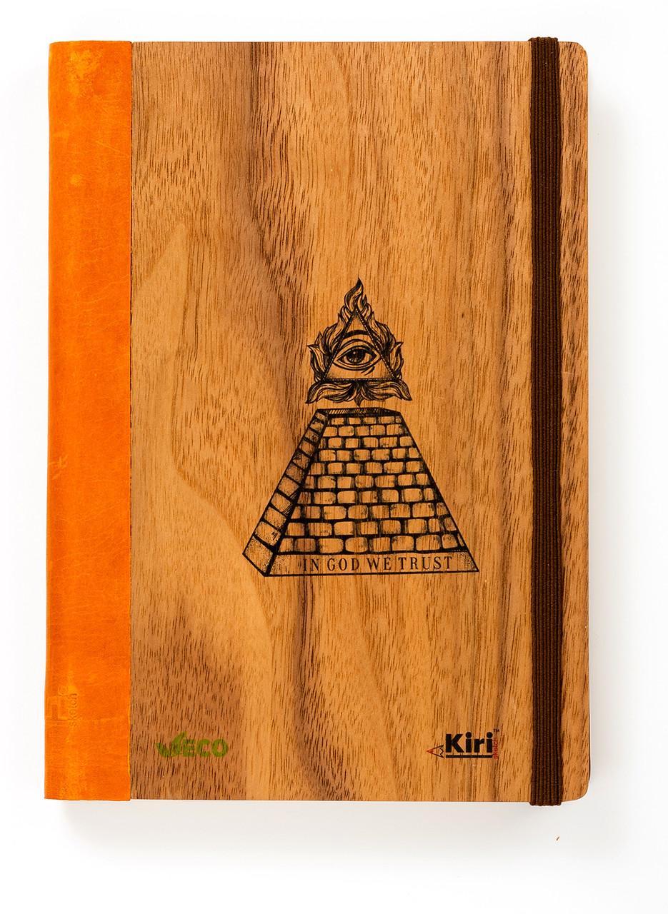 """Эко Записная книжка в линию А5 """"Пирамида"""", деревянная в книжном переплете"""
