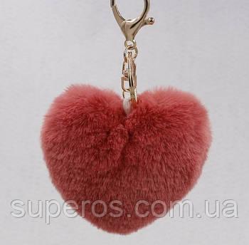 Меховый брелок Сердце разные цвета