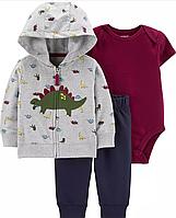 Набор штаны боди и кофта для мальчика Carters динозавр. 9М 74 см