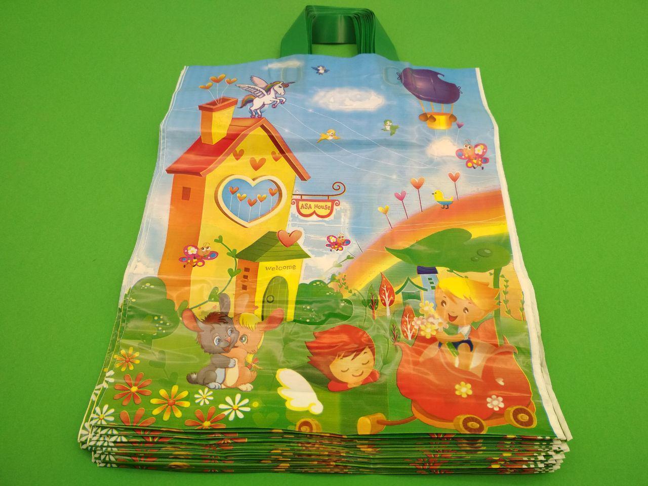 """Пакет полиэтиленовый цветной с петлевой ручкой (34*41+3) """"Детские"""" ХВГ (25 шт)"""