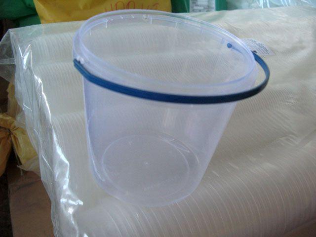 Прозрачное пластиковое ведро для продуктов с крышкой (V=5л.), 50 шт/пач