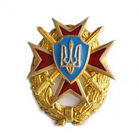 Герб Украины на мальтийском кресте и венке (красный крест)