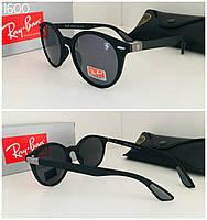 Круглые черные солнцезащитные женские очки  Ray Ban матовая черная оправа, фото 1