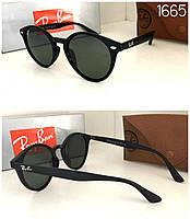 Классные круглые черные солнцезащитные женские очки  Ray Ban в матовой оправе, фото 1