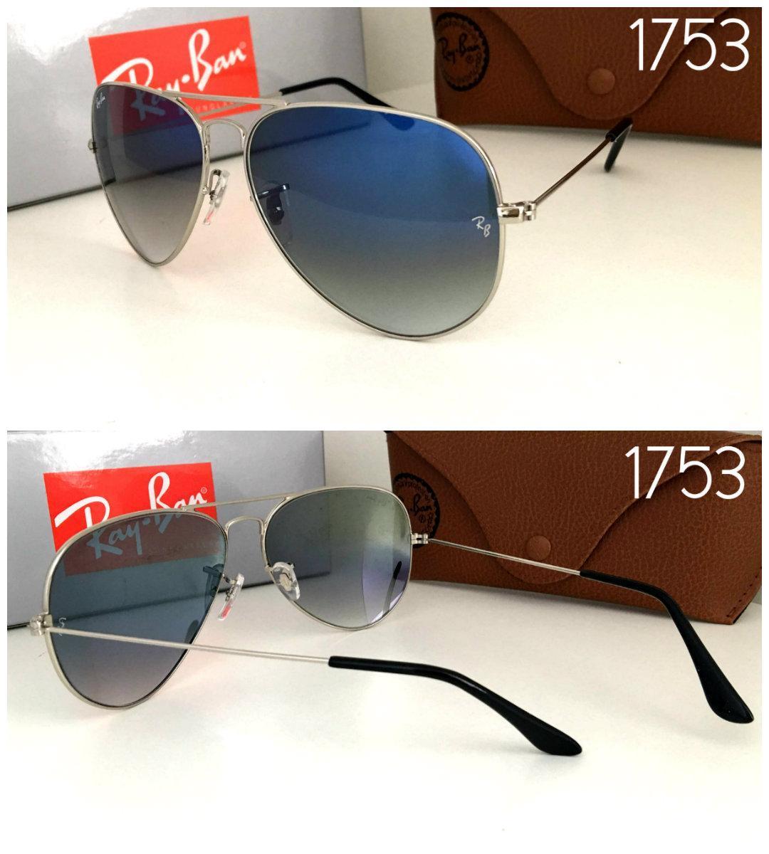 Женские солнцезащитные очки  Ray Ban реплика серо - голубой переход в оправе серебре линза стекло