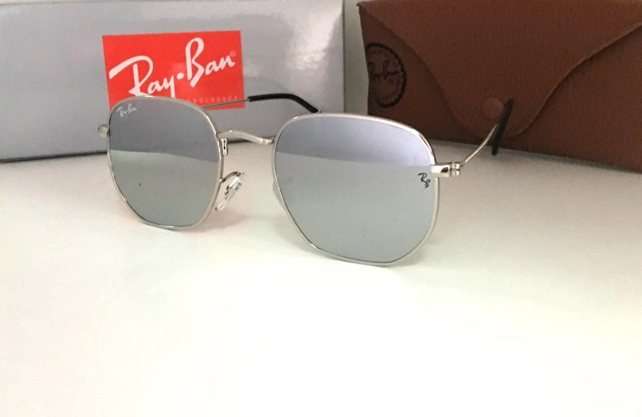 Cолнцезащитные женские очки зеркальные  Ray Ban серые металлик
