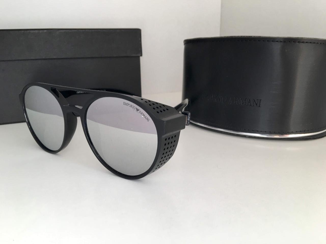 Мужские круглые  зеркальные солнцезащитные очки  ARMANI линза серая с шорами