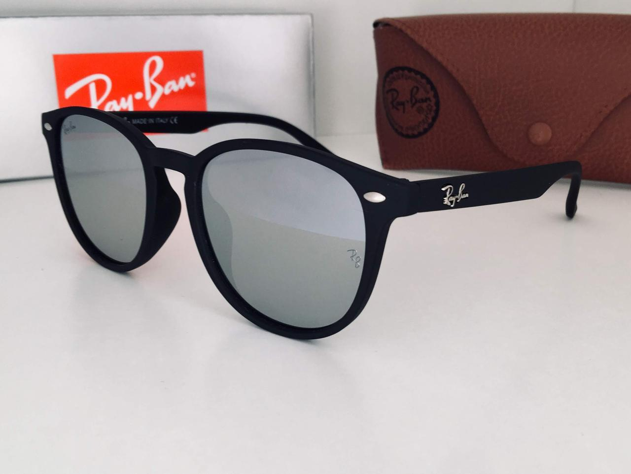 Женские очки серые  зеркальные  Ray Ban в матовой оправе