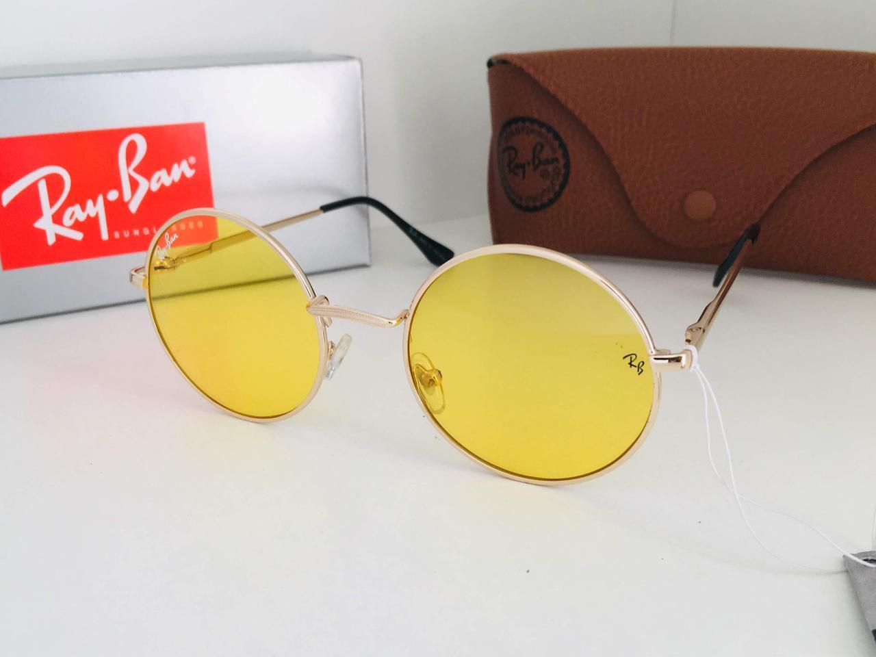 Круглые желтые просветляющие  очки солнцезащитные Ray Ban