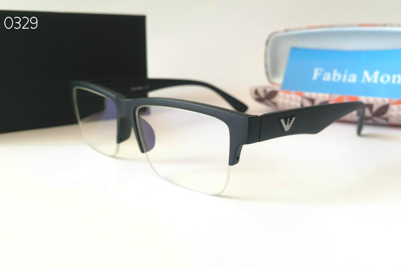 Очки компьютерные с дужками флекс полуободковые Fabia Monti FM323 черные