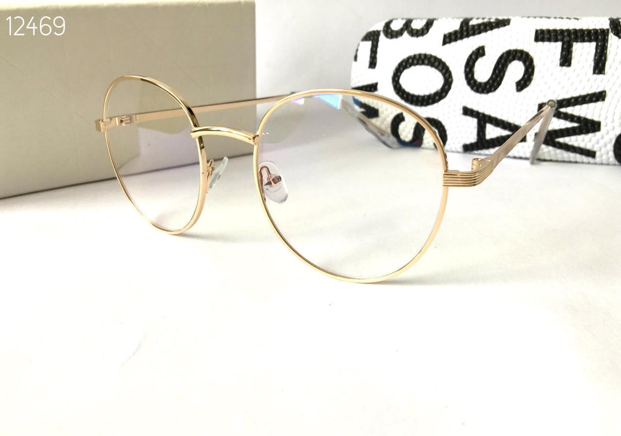 Круглые очки компьютерные металлическая оправа золото