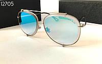 Cолнцезащитные женские очки голубые зеркальные авиаторы  Dita