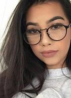 Круглые женские имиджевые очки компьютерные Ray Ban в черной оправе, фото 1