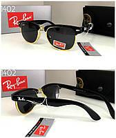 Детские черные солнцезащитные  очки  Ray Ban в золотой оправе полуободковые