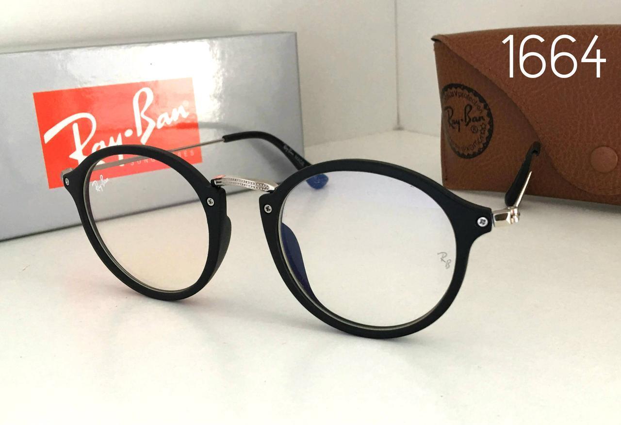 Круглые имиджевые очки компьютерные RB1664 в черной глянец оправе