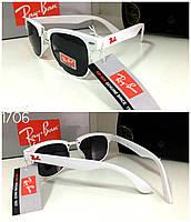 Детские черные солнцезащитные  очки  Ray Bау в белой оправе (RB001)
