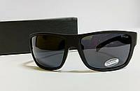 Мужские очки Prada спорт черные с поляризацией в матовой черной оправе ( код 1807)