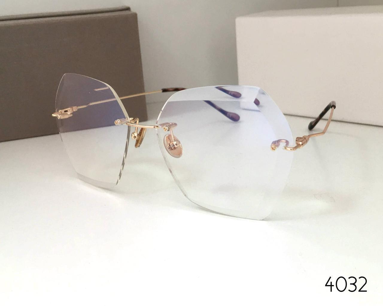 Имиджевые стильные очки безободковые льдинки 17042 с уф защитой
