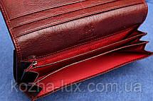Кошелек женский кожаный темно бордовый, натуральная кожа, фото 3