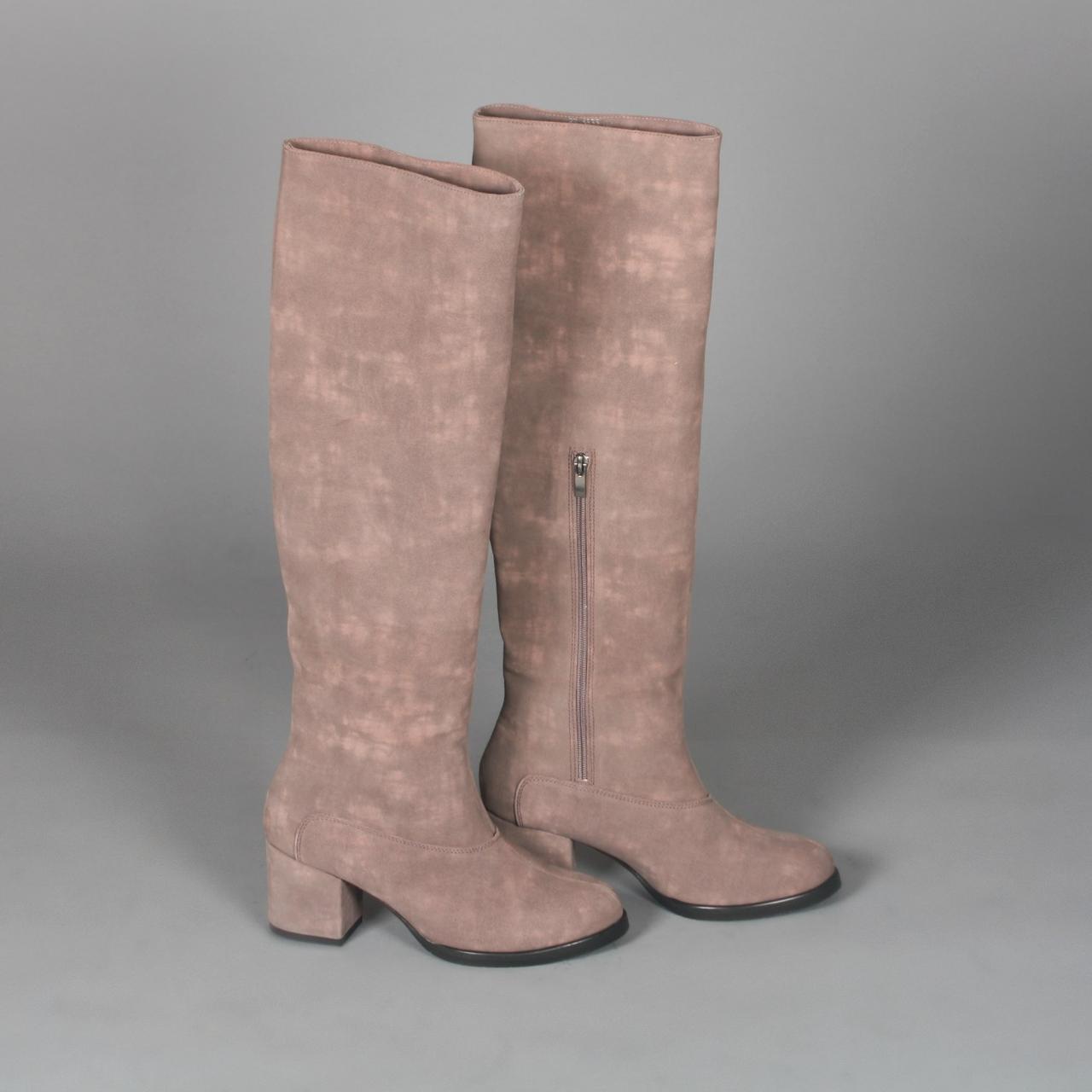 Замшевые сапоги на комфортном каблуке. Пошив в любом цвете по личным меркам