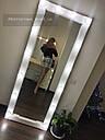 Большое гримерное зеркало с подсветкой, коричневое дерево, фото 9