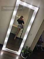 Большое гримерное зеркало с подсветкой, коричневое дерево 2