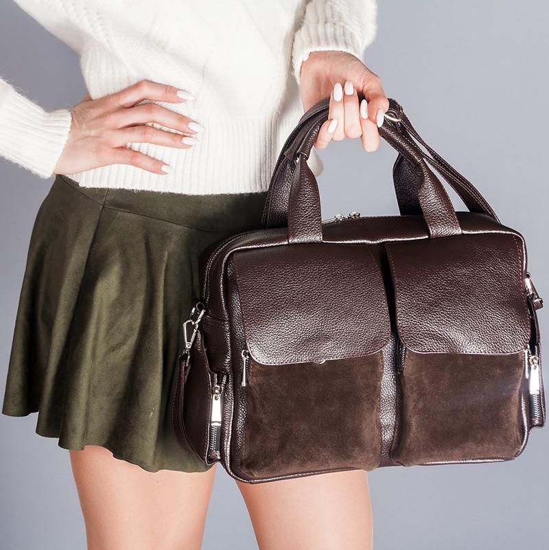 Сумка-саквояж женская коричневая большая с накладными карманами, натуральная кожа и замша