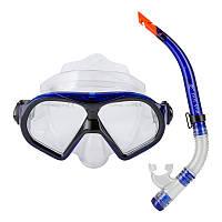 Набор для подводного плавания маска и трубка Dolvor, термостекло, силикон, PVC, синий (М9510Р+SN52-(bl))